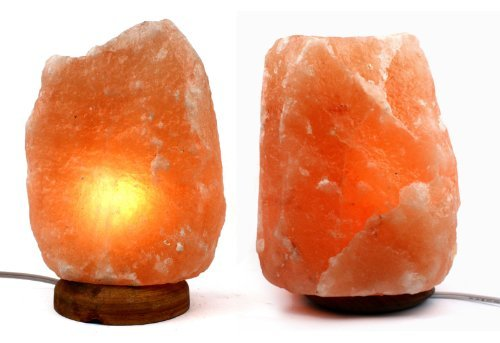 Pack of 2 Natural 6 to 8 Himalayan Salt Lamp on Wood Base with Cord, Light Bulb & Authentic Crystal Allies Info Card