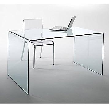 Glass Design Desk CHALET fromgebogenes Safety glass 120x60cm Home Office