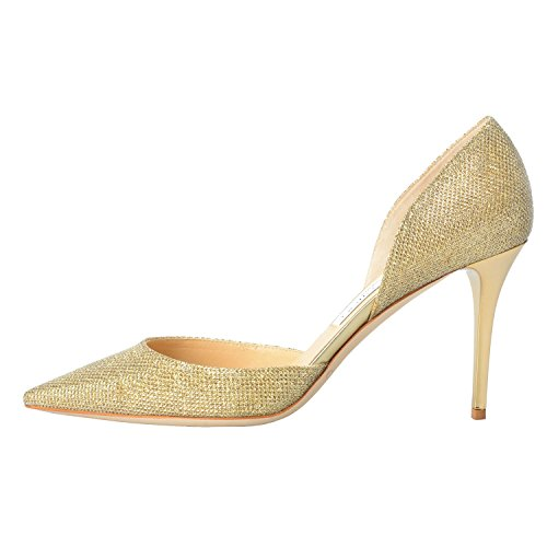 Jimmy Choo Women's Gold Glitter Pointy Toe High Heels Pumps Shoes
