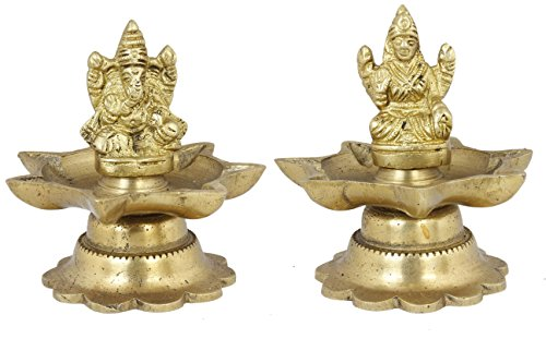 Statue Wedding - Pair of Ganesha and Goddess Lakshmi Figurine Set - Handmade Brass Sculpture - 3