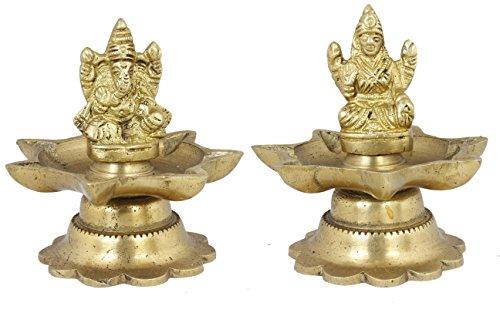 "Statue Wedding - Pair of Ganesha and Goddess Lakshmi Figurine Set - Handmade Brass Sculpture - 3"" x 3"" x 3"""