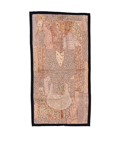 Uptown Down One-of-a-Kind Patchwork Wall Hanging/Textile Panel, Beige