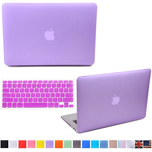 """HDE Matte Hard Shell Clip Snap-on Case + Matching Keyboard Skin for MacBook Pro 13"""" with Retina Display - Fits Model A1425 / A1502 (Purple)"""