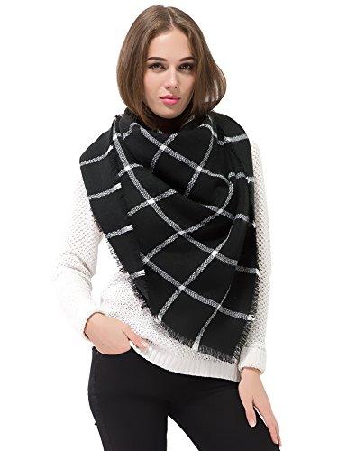 dimore-women-thick-warm-blanket-fringe-scarf-wrap-square-tartan-scarves-shawl-checked-pashmina-black