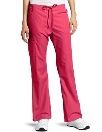Dickies Scrubs Women's Petite Back Elastic Cargo Pant, Hot Pink, X-Large