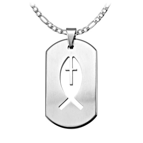 Men's Stainless Steel Dog Tag Pendant with a Laser Cut Out Of An Ichthys Symbol (Pendant Only)
