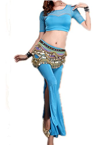 Dancewear Danza del ventre Custome Ice Silk Middle manica Silk Top & lunga Wide Leg Pantaloni light blue