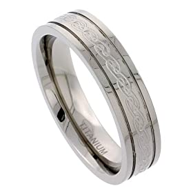 "Titanium 6 mm (1/4"") Flat Comfort Fit Band with Etched Celtic Knot work and Raised Edges"
