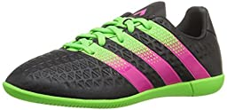 adidas Performance Ace 16.3 IN J Soccer Shoe (Little Kid/Big Kid),Black/Green/Shock Pink,12 M US Little Kid