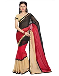 Designersareez Women Black & Red Faux Georgette Saree With Unstitched Blouse (1651)