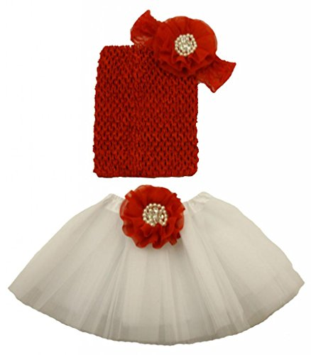 Wholesale Princess Red and White Tutu Gift Set Fits 0-12mo
