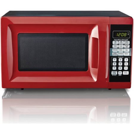 Hamilton Beach 0.7 cu ft Microwave Oven , features Child-safe lockout, 10 power levels in Red (Small Compact Microwave Oven compare prices)