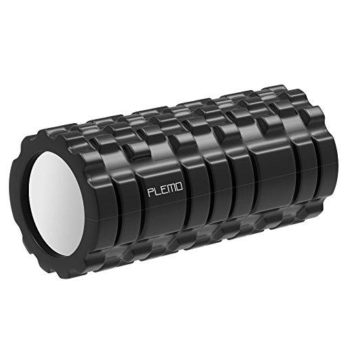 PLEMO フォームローラー Foam Roller 3種類の凸凹マッサージ ヨガポール ストレッチローラー 筋膜リリース マッサージ トリガーポイントブラック FE-001