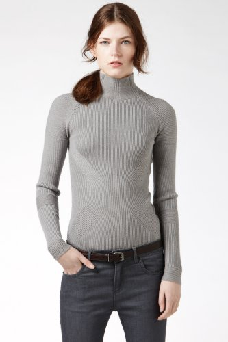 Long Sleeve Turtleneck Variegated Rib Sweater