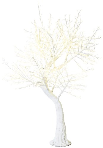 Arclite Nbl-200-3 Cherry Blossom Tree With Leaves, 7' Height, With White Trunk, Clear Crystals And Warm White Lights