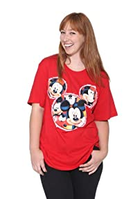 Disney Mickey Mouse Red T-Shirt Glitter Plus Size
