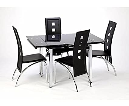 Sturdy 12mm Glass Table Dining Set - Tempered Glass Top Table - Chrome Metal Legs- Sleek Stylish Chairs