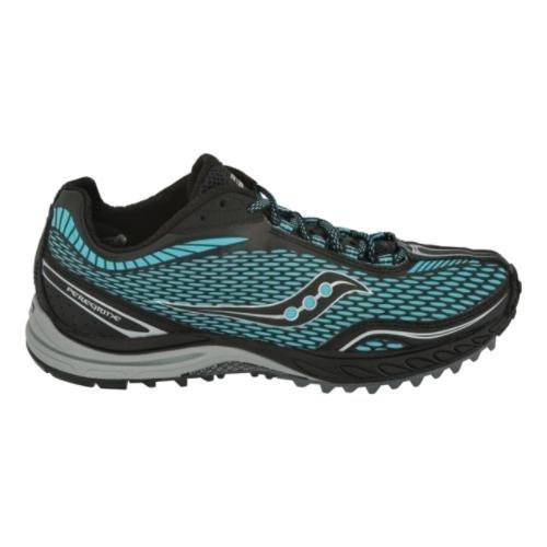 Saucony Women's ProGrid Peregrine Trail Shoe,Black/Aqua,11 M US