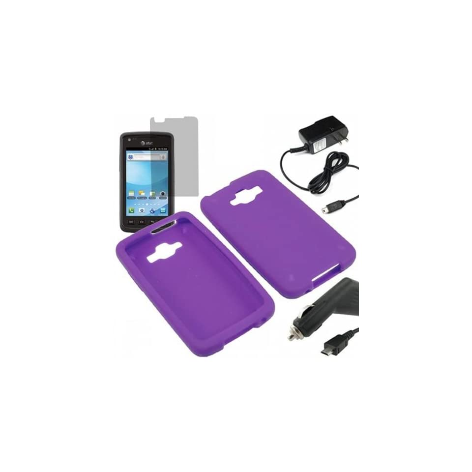 AM Silicone Sleeve Gel Cover Skin Case for AT&T Samsung Rugby Smart i847 + LCD + Car + Home Charger  Purple Cell Phones & Accessories