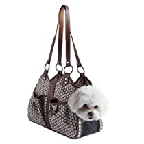 Hot Sale Petote Metro Couture Leather Trim Dog Carrier, Toffee, Small