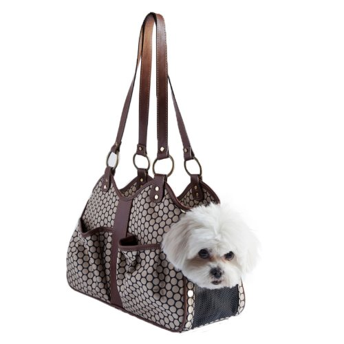 Petote Metro Couture Leather Trim Dog Carrier, Toffee, Large