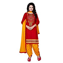 K Mart Red And Yellow Embroidered Cotton Patiala Suit