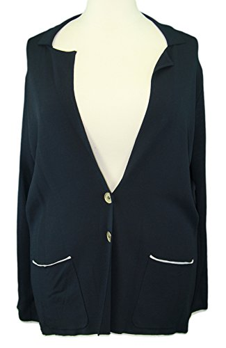 MARINA RINALDI by MaxMara Ex/Kuens Navy Blue Button-Up Knitted Jacket XL