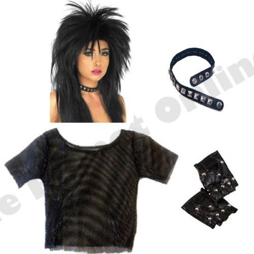 Blue Planet Online - Punk Rocker Mesh Top, Wig, Studded Choker & Gloves
