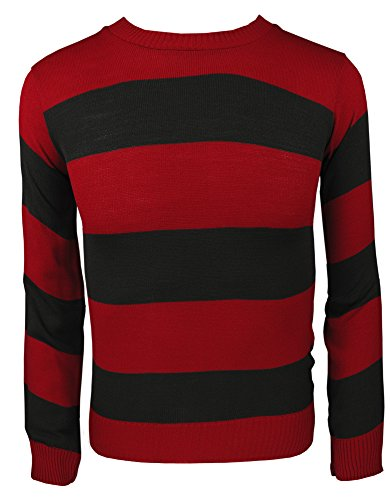 TrendyFashion -  Felpa  - Collo a U  - Maniche lunghe  - Uomo Red/Black Jumper M/L