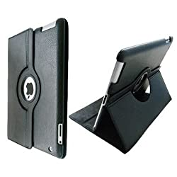 Ctech 360 Degrees Rotating Stand (black) Leather Case for iPad 2 2nd generation