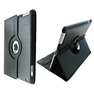 Ctech 360 Degrees Rotating Stand Black Leather Case For Ipad 2 2nd Generation