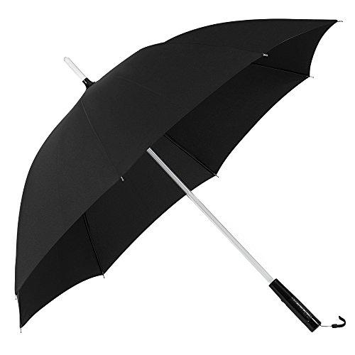 PLEMO Ombrello Nero Pioggia Resistenti Automatico da Viaggio Borsa con Palo da LED Multicolore & Torcia Elettrica