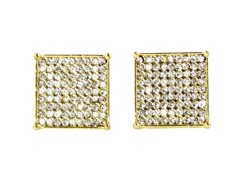 20Mm Iced Out Custom Diamond Simulate Hip Hop Bling Pave Square Stud Gold Earrings