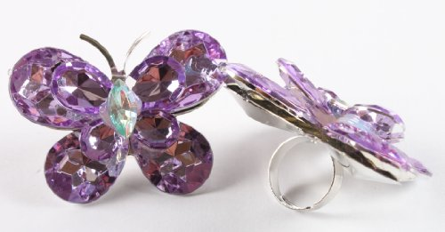 Ladies Purple Double Butterfly Metal Adjustable Finger Ring
