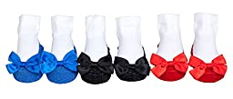 Mary Jane Socks With A Bling! Sparkle Infant Socks 3 Pair (Red, Blue & Black) 12-18 Months