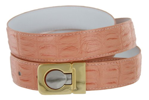 Leather Dress Belt, Salmon colored Crocodile with Nickel and Gold Plated Channel Buckle