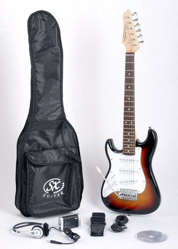 SX RST 1/2 3TS Left Handed 1/2 Size Short Scale Sunburst Guitar Package with Amp, Carry Bag and Instructional DVD