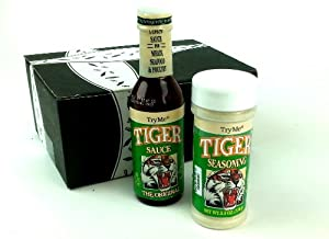 TryMe Tiger Sauce & Seasoning Variety: One 5 oz Bottle of Tiger Sauce and One 5.5 oz Bottle of Tiger Seasoning in a Gift Box