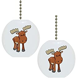 Set of 2 Baby Moose Ceramic Fan Pulls