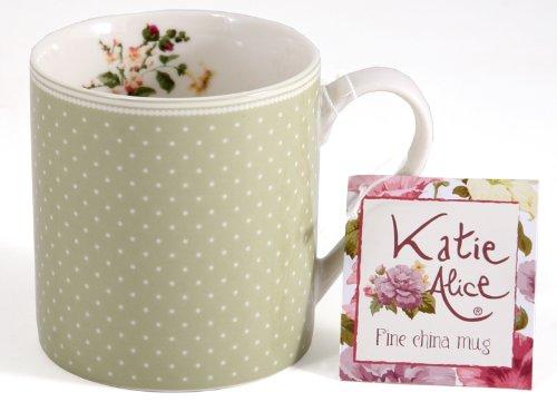 Katie Alice Highland Fling Green Spot Shabby Chic Fine China Mug