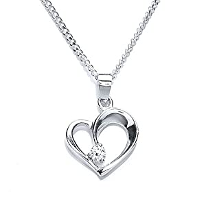 Silver Cubic Zirconia Heart Shaped Pendant with 46.6 cm Chain