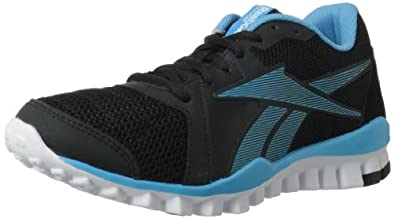 Reebok Women's RealFlex Advance Training Shoe,Black/Blue Blink/White,5 M US
