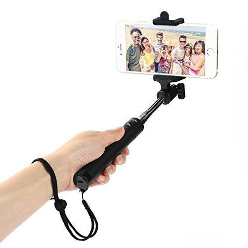 Selfie Stick, Flexion Ultra Compact Foldable QuickSnap Pro 3-In-1 Self-portrait Monopod Extendable Wireless Bluetooth Selfie Stick with built-in Remote Shutter With Adjustable Phone Holder (Black)