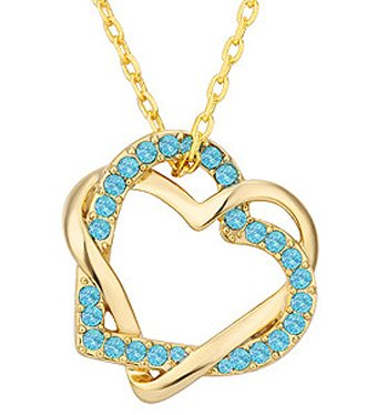 18K Gold Plated CZ Interlocking Heart Pendant Necklace With 18