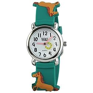 Tee-Wee montre pour enfants - le motif de cheval - bracelet en caoutchouc vert avec dessins 3D - montre pédagogique - UW767G