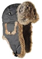 Mad Bomber Waxed Cotton Bomber Cap with Real Fur