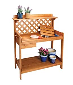 Cedar Wood Potting Bench Potters Table W Soil Tray Drawer Outdoor Benches