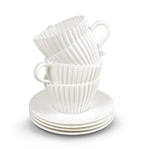 Fred and Friends TEACUPCAKES Baking Cups, Set of 4 Cups and Saucers