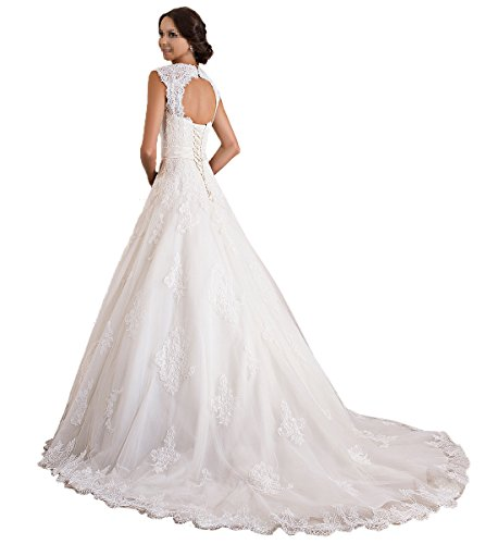 TBB Double V-neck Sleeveless Lace applique And Satin A-line Wedding Dress (White) (4)