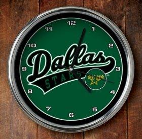 Dallas Stars Chrome Wall Clock